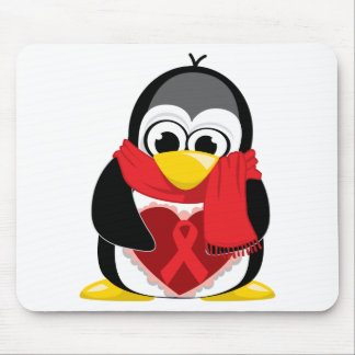 Red Ribbon Penguin Scarf Mouse Mat