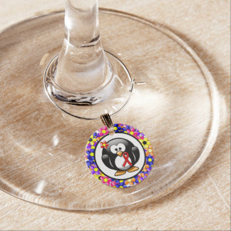 Red Ribbon Penguin Wine Charm