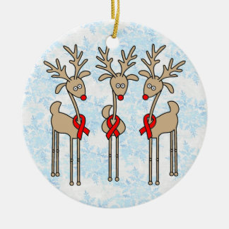 Red Ribbon Reindeer (Heart Disease & Stroke) Christmas Ornament