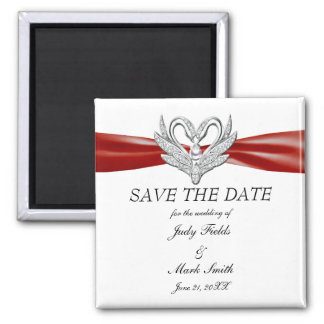 Red Ribbon Silver Swans Save The Date Magnet