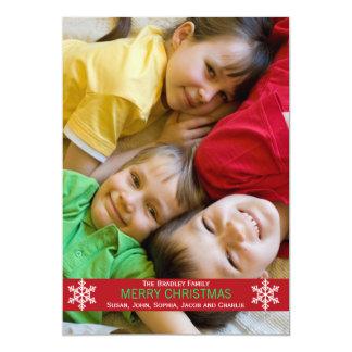 Red Ribbon Snowflake Christmas Card