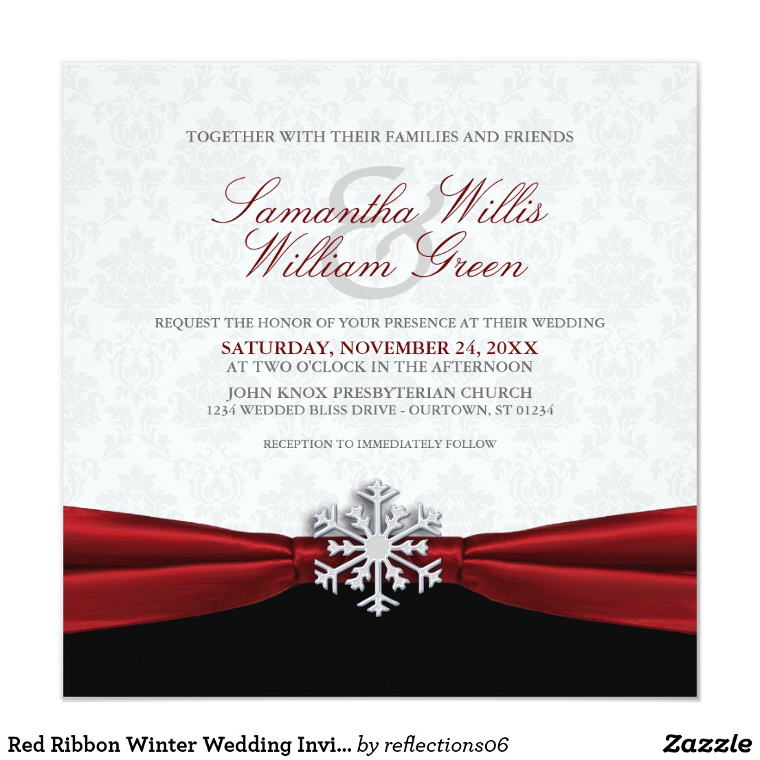 Red Ribbon Winter Wedding Invitation