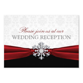 Red Ribbon Winter Wedding Reception Card