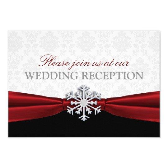 Red Ribbon Winter Wedding Reception Card