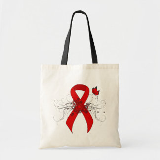 Red Ribbon with Butterfly Budget Tote Bag