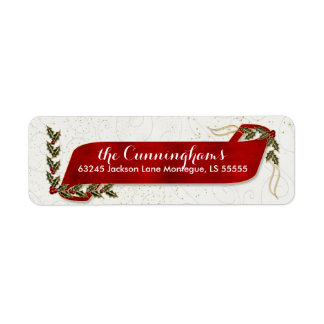 Red Ribbon with Holly and Berries Holiday Return Address Label
