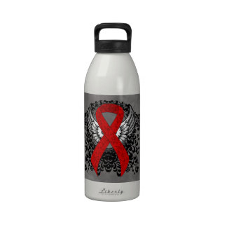 Red Ribbon with Wings Reusable Water Bottles