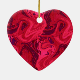 Red rich marbled texture ceramic heart decoration