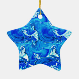 Red rich marbled texture, deep ocean waves christmas ornament