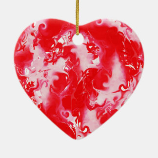 Red rich marbled texture, trendy marbling paper. ceramic heart decoration