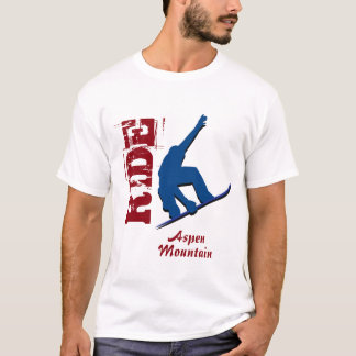 Red Ride Aspen Mountain Snowboard T-Shirt
