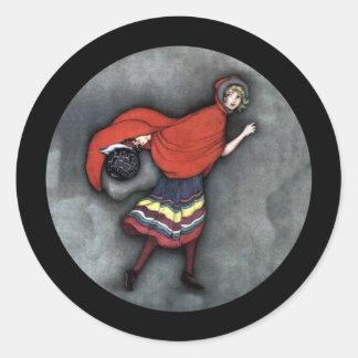 Red Riding Hood 1920s Round Sticker