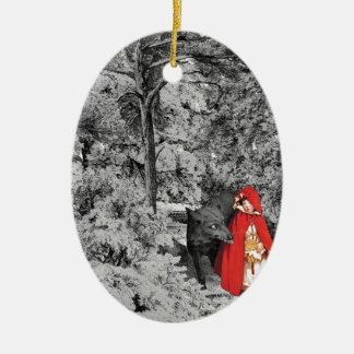 Red Riding Hood and the Wolf (BW) Christmas Ornament