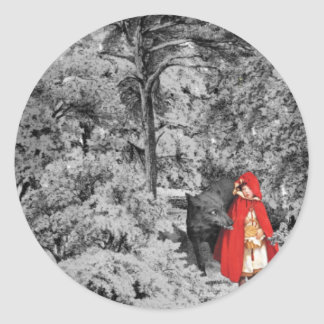 Red Riding Hood and the Wolf Round Sticker