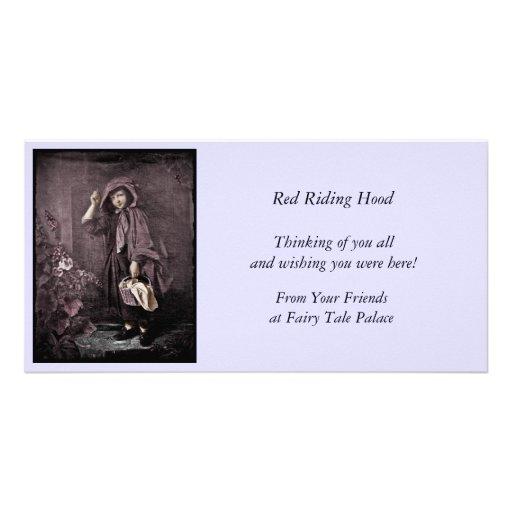 Red Riding Hood at Grandma Door Custom Photo Card