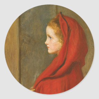 Red Riding Hood by Millais Round Sticker