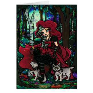 Red Riding Hood Fairytale Fantasy Art Greeting Card
