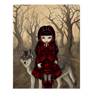 Red Riding Hood in Autumn ART PRINT gothic wolf