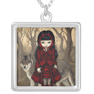 Red Riding Hood in Autumn NECKLACE gothic wolf