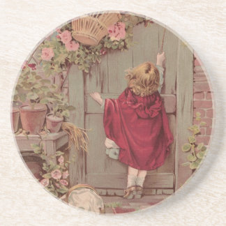Red Riding Hood Knocks on the Door Beverage Coasters