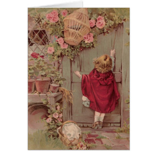 Red Riding Hood Knocks on the Door Greeting Card
