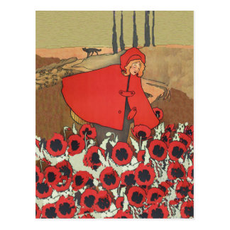 Red Riding Hood Picking Poppies Postcard