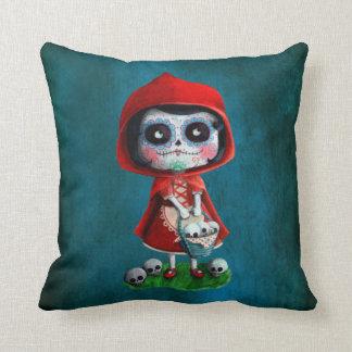 Red Riding Hood Sugar Skull Throw Pillow