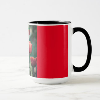Red Ringer Mug with Red Tulips