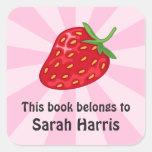 Red ripe strawberry bookplate stickers/book labels