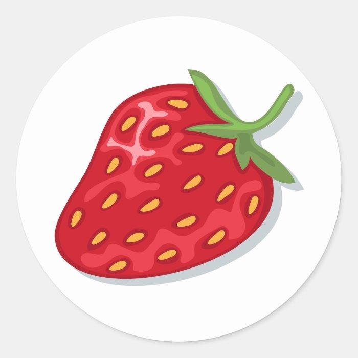 Red ripe strawberry stickers