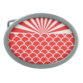 Red Rising Sun Japanese inspired pattern Belt Buckle