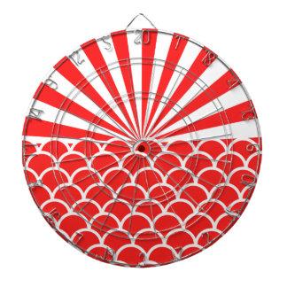 Red Rising Sun Japanese inspired pattern Dartboard