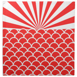Red Rising Sun Japanese inspired pattern Napkin