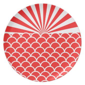 Red Rising Sun Japanese inspired pattern Plate