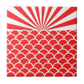 Red Rising Sun Japanese inspired pattern Small Square Tile