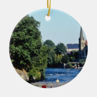 Red River Dee, Llangollen, North Wales flowers Christmas Ornament