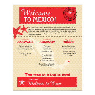 Red Riviera Maya Mexico Wedding Welcome Letter 11.5 Cm X 14 Cm Flyer