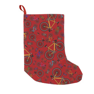 Red road bikes small christmas stocking