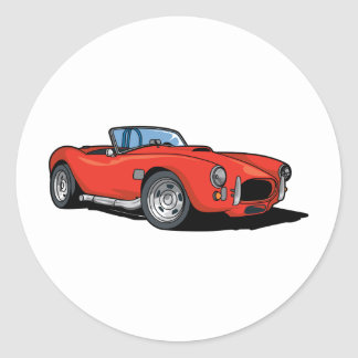 Red Roadster Round Sticker