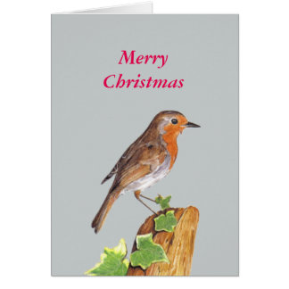Red Robin art, Merry Christmas Greeting Card