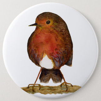 Red Robin Bird Watercolour Painting 6 Cm Round Badge