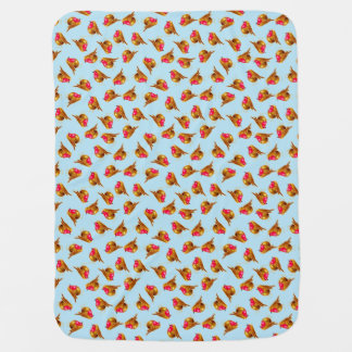 Red Robin Christmas on pale blue art Swaddle Blankets