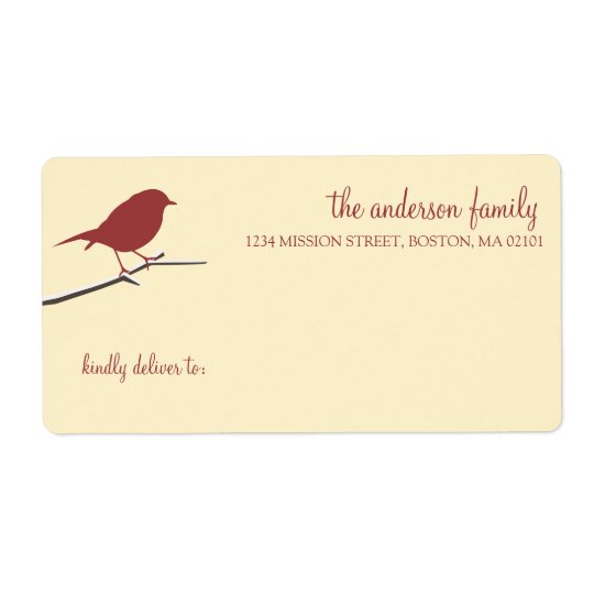 Red robin on snowy branch simply elegant mailing shipping label
