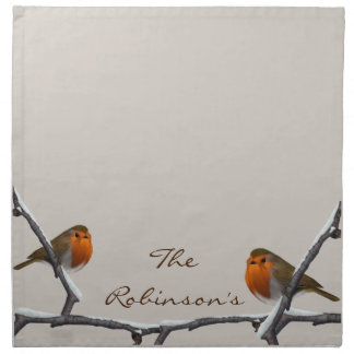 Red Robins Custom Name Natural Cloth Napkins