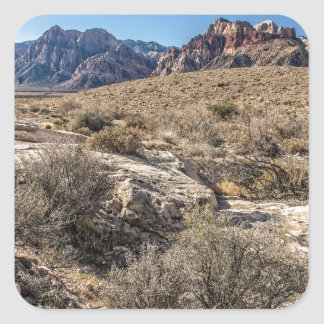 Red Rock Canyon & Dry Riverbed Square Sticker