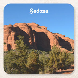 Red Rock in Sedona Square Paper Coaster