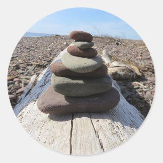 Red Rock Meditation Sculpture Round Stickers