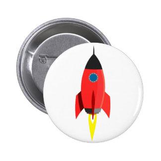 Red Rocket Blast Off 6 Cm Round Badge