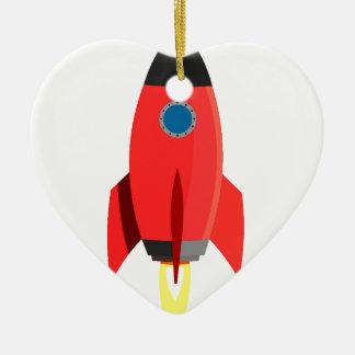 Red Rocket Blast Off Ceramic Heart Decoration