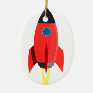 Red Rocket Blast Off Ceramic Oval Decoration
